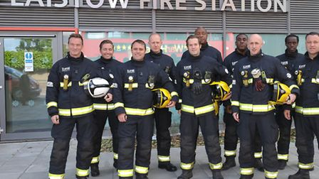 Blue watch outside their new fire station in Plaistow