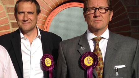 Cllr Philip Hyde (right) with his old colleague Cllr Lawrence Webb at last year's council election