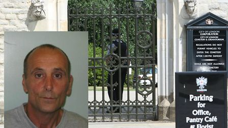 John Nicholles, inset, was found guilty of manslaughter at the City of London Cemetery