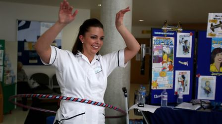 Charlotte Pemble enjoying fitness activities as part of a healthy living programme at Queen's Hospi