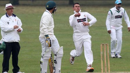 Action from the Premier Division clash between Harold Wood (batting) and Ilford (pic: Gavin Ellis/TG