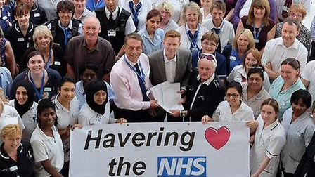 Havering Loves the NHS presents a petition to Queen's Hospital staff