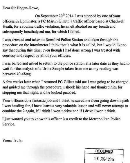 A drink driver wrote this letter to Sir Bernard Hogan-Howe thanking the officer who arrested him