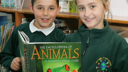 Special reading week at Suttons Primary School, in Hornchurch, Frankie Barnard, age11 and Talia Aud