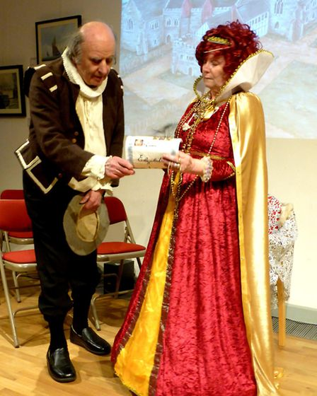 Brian Evans and Monica Gregory playing William Shakespeare and Queen Elizabeth I in Havering's Histo
