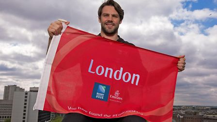 Ben Foden with the flag that will be hidden somewhere in east London