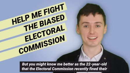 Darren Grimes is appealling a £20,000 Electoral COmmission fine for his part in the Vote Leave scand