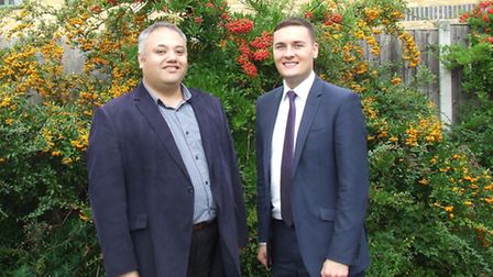 Mark Santos, left, with former health cabinet member Wes Streeting (right)