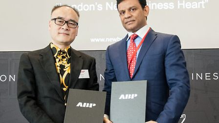 Chairman of ABP, Xu Weiping (left) with Strawberry Star Group chairman Santhosh Gowda