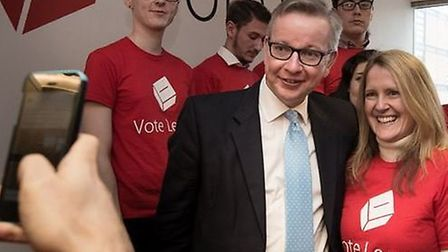 Photos taken during the campaign show Grimes in a Vote Leave T-shirt, beaming behind Michael Gove at