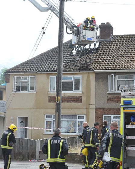 Fire services on scene at the fire in Rainham Road