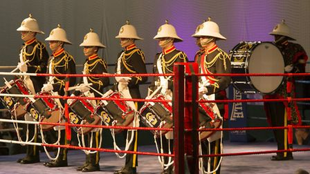 The Royal British Legion Band & Corps of Drums Romford at a boxing event at RAF Wyton. Picture: Andr