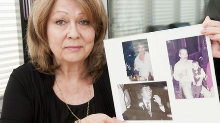 Angela Farrugia holding treasured pictures of her dead brothers. Picture: Nigel Sutton