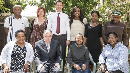 Jeremy Hunt (centre back) with members of the Shared Lives scheme
