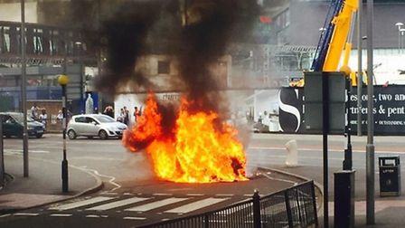 The car on fire in Stratford (picture: Delroy Atkinson/@delroyatkinson)