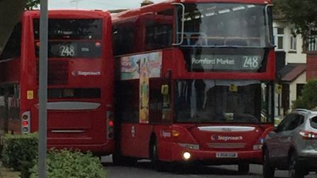 Two 248 buses crashed at about 3.45pm