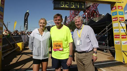 Distance running legend Paula Radcliffe with Mayor of Newham Sir Robin Wales and Great Run chairman