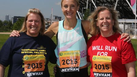 Great Runners Paula Blake and Vicki Read with Paula Radcliffe (centre)