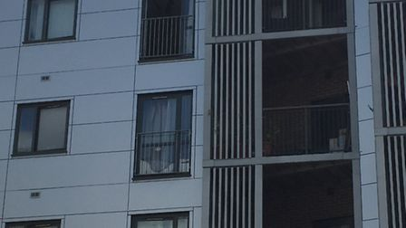 Explosive officers were called to the flat (middle balcony)