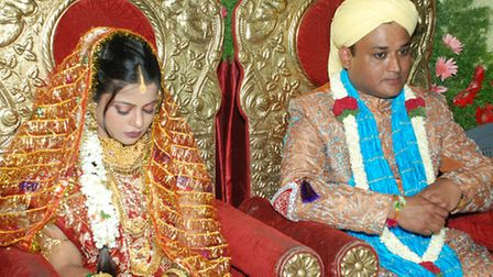 Fathima Sumaya Khan and Ahmed Anees Hussain on their wedding day in May 2010