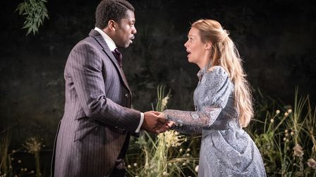 Fehinti Balogun as Algernon and Fiona Button as Cecily Cardew in The Importance of Being Earnest at