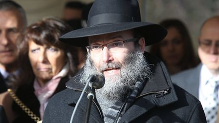 Rabbi Aryeh Sufrin MBE from Chabad Lubavitch speaking at a Holocaust Memorial Day event