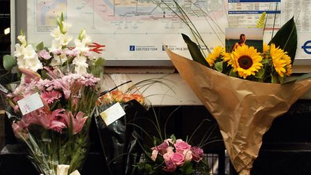 Flowers placed by the families of those killed in the Edgware Road underground station terrorist bom