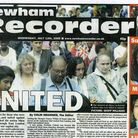 Front page of the Newham Recorder after the terrorist attack