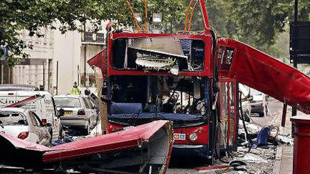 The number 30 double-decker bus in Tavistock Square which was blown up by a suicide bomber on 7/7. Picture: Peter...