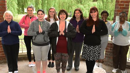 Mary Griffiths is running yoga sessions in Raphael Park in Romford for the Recorder's Fundraise on t