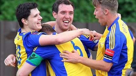 Romford's Nick Reynolds celebrates a goal against Ware on the final day of the 2014/15 season (pic: