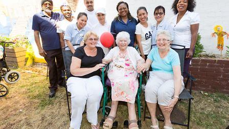 Violet Pavey celebrates her 102nd birthday with staff and friends at Manor Farm Care Home