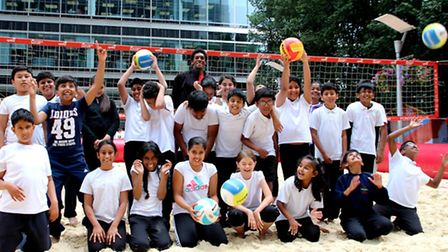 Pupils from Parkhill Junior School and Wohl Ilford Jewish Primary School enjoying some beach volleyb