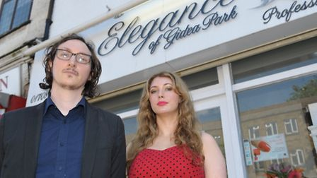 James Hall and Louise Wotton outside their salon