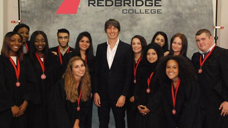 Professor Brian Cox with students from Redbridge College