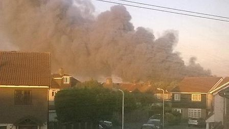 The smoke from the fire yesterday evening at a pallet yard in East Hall Lane, Rainham. Picture: @lou