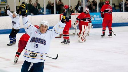 Liam Chong celebrates scoring for London Raiders against Streatham last season (pic: John Scott)