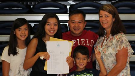 Sarah Bonnell student Crystal Trinh, second left, with her family