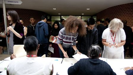 Students collect their GCSE results at Forest Gate Community School (picture: Isabel Infantes)