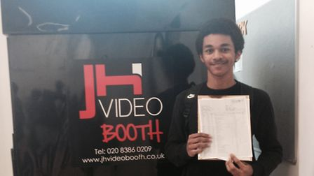 Tyler Opoku from Stratford School Academy with his results