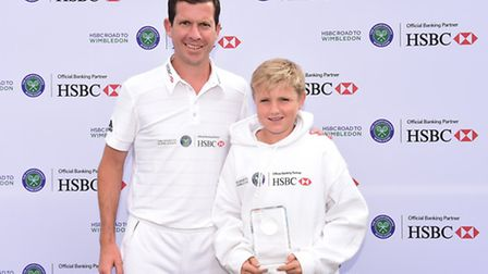 Redbridge's Cameron Isbell (right) with former world number four Tim Henman at the HSBC Road to Wimb