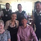 Martin Druce, 80, and his wife, Heather, were reunited with PC Lee Smart at Costa Coffee where the o