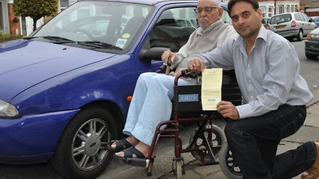 Waleed Butt with his father Haji Ahmed and parking fine