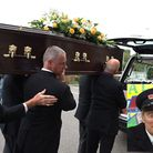 The funeral of actor Stephen Lewis who played 'Blakey' from On the at Our Lady of Lourdes Church in