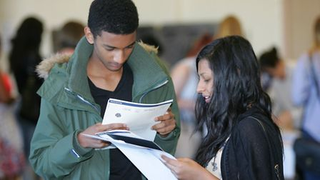 Cumberland School students collect their results last year