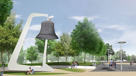 How the bell will look when it is installed in Queen Elizabeth Olympic Park