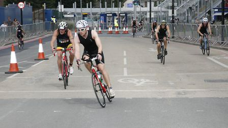 Cycling took place around the ExCel centre. Picture: Sandra Rowse