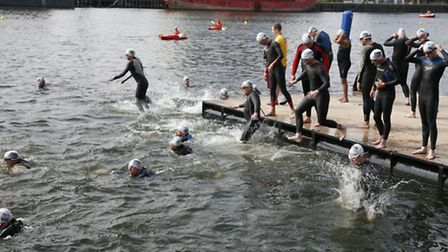 Competitors take to the water. Picture: Sanrda Rowse