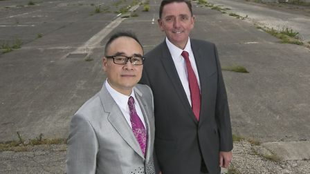 Newham Mayor Sir Robin Wales with Xu Weiping, chairman of ABP pictured on the site where the which w
