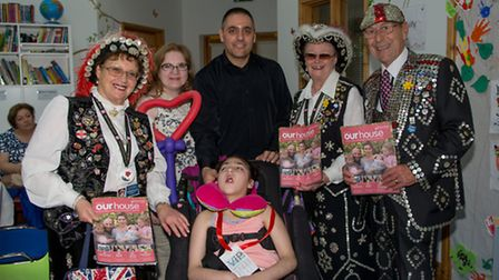 Aysu Guven and parents Yesim and Baris with Pearly Kings and Queens